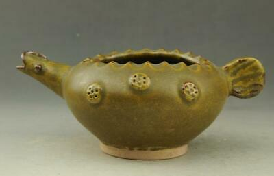 Chinese old hand-carved fambe porcelain celadon glaze Fish mouth teapot / 11 d01