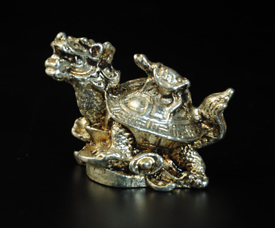 Collectable China Old Miao Silver Hand-Carved Dragon Turtle Statue /Aa01
