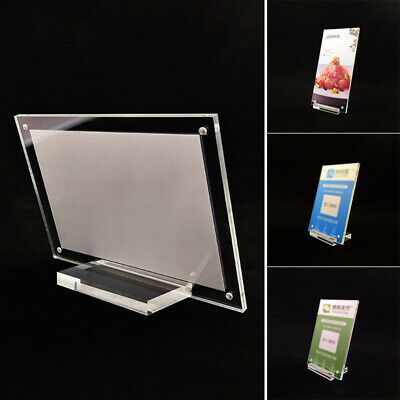 Clear Acrylic Card Sign Table Photo Frame Stand Rack Holder Home Desktop Display