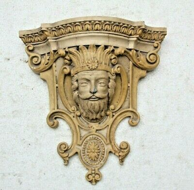 Rare Hand Carved  French Gothic Fancy Male Face Mask Church Wood Bracket
