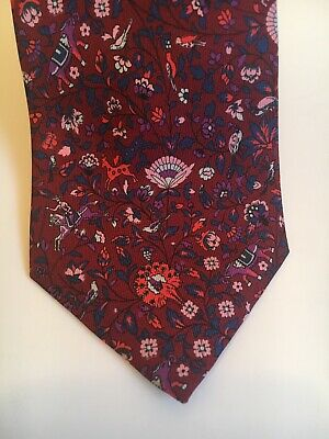 Liberty 100% silk mens tie, deep red with animal and floral print
