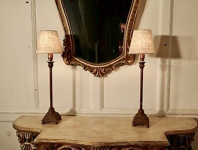 Pair of  Tall Brass Arts and Crafts Table Lamps