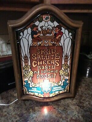 Vintage Heilman's Old Style Lighted Beer Sign Faux Stained Glass Cheers Man Cave