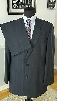BROOKS BROTHERS Gray Striped 100% Wool Jacket Pants SUIT Mens -44 R