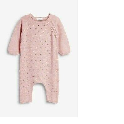 NEXT baby girls 9-12 pink knitted pointelle romper all in one suit