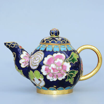 Collectable China Old Cloisonne Hand-Carved Bloomy Peony Flower Delicate Tea Pot