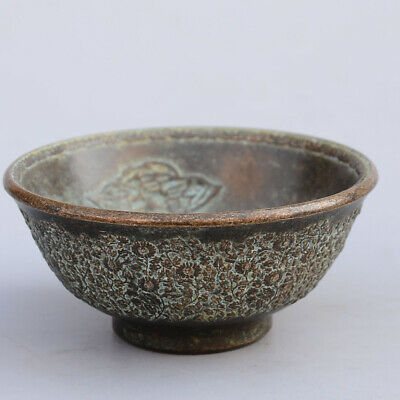 Collectable China Old Bronze Hand-Carved Bloomy Lotus Auspicious Delicarte Bowl