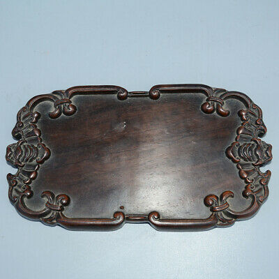 Collectable China Old Boxwood Hand-Carved Bat Moral Auspicious Delicate Tea Tray