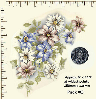 Ceramic decals PINK, WHITE, BLUE DAISIES Flowers Floral 3 Options WATERSLIDE G20