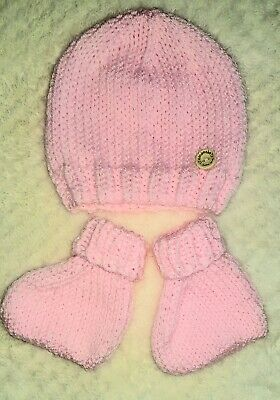 Hand knitted baby hat and bootees newborn pink  free postage