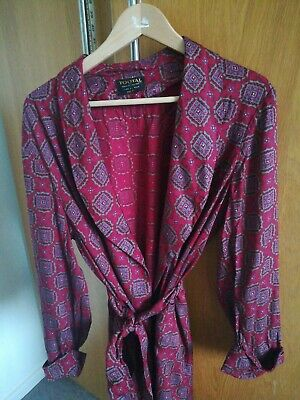 Vintage Mens Tootal Dressing Gown 60s Burgundy -Paisley Pattern