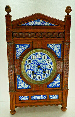 Large Antique French Fancy Porcelain Mantel Clock