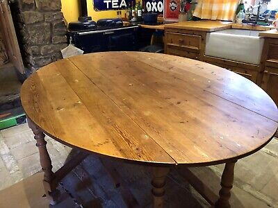 Old/ Antique Oval Pine Country Farmhouse Kitchen/Dining Gateleg Table Seats 6-8