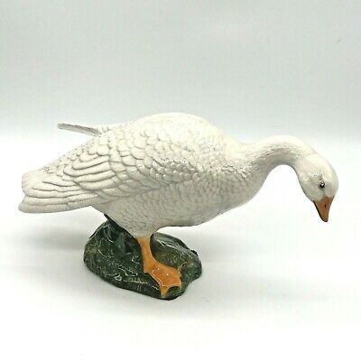 "Vintage Ceramic Hobbyist Painted White Goose Figurine Statue 12"" L x 6"" H"