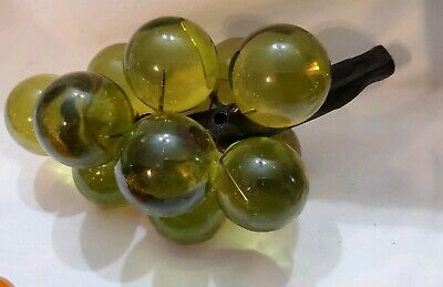 Vintage 1960's Lucite Grapes Olive Green