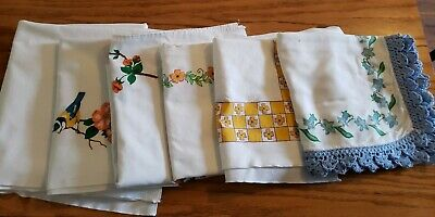 Vintage Painted Tablecloths Misc Lot Of 6.
