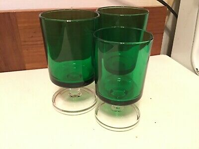 VINTAGE ARCOROC France GREEN Stemmed 4 oz Bar Glasses- Juice Glasses  Set of 3