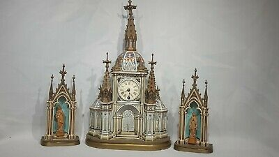 Beautiful Rare Lenzkirch porcelain and bronze mantle Clock Garniture Set
