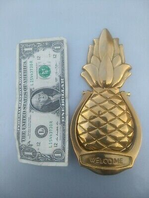 Heavy Solid Brass Door Knocker - Welcome Pineapple Design 6 3/4 Inches Tall