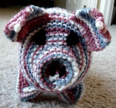 New Soft Handmade Knit Stuffed Variegated Pink Blue White Baby Pig Toy Animal