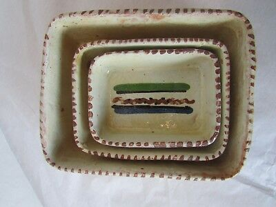 Vintg Mexico Mexican Clay Hand Painted Small Mini Square Condiment Bowls Set Lot