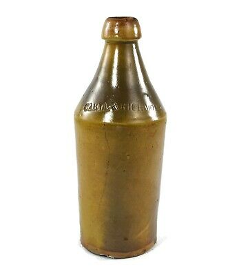 Vintage Stoneware Beer Bottle Caryl & Richmond New Britain CT Mid 1800's 1 Qt