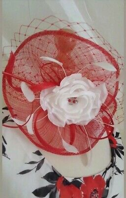Jacques Vert Fascinator Red White Flower Wedding Church Races Special Occasion