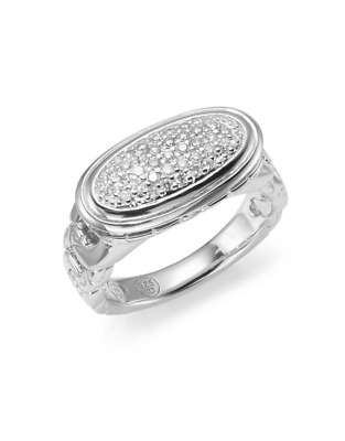 John Hardy Classic Chain Pave Diamond Oval Sterling Silver Ring Size 7