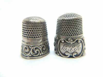 Antique Waite Thresher Sterling Silver Thimble Lot of 2 - Scroll Florish Band