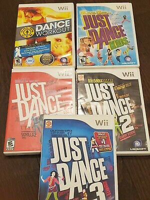 Just Dance Wii Bundle - Just Dance 1, 2, 3, Kids and Gold's Gym Dance Workout