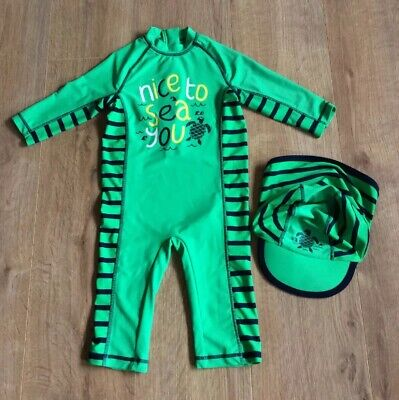 Marks & Spencer All In One Swimsuit & Hat, Green, Turtle Print - Age 3-4 Years
