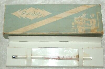 Vintage PURITEE Oral Fever Thermometer Stubby with Box & Instructions