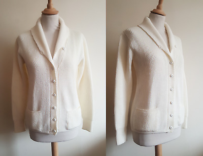 VINTAGE 1970s Jaeger cream wool ladies button up sweater deadstock 10 12 M