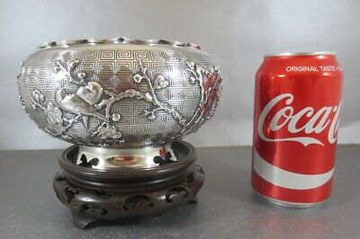 Fine Quality Chinese Export Sterling Center Bowl. Wang Hing Applied Decoration!