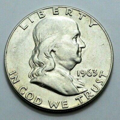 1963-D Franklin Half Dollar 90% Silver Old US Coin,50c. NO RESERVE ./.!