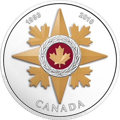 18384 2018 'Star of Military Valour - Canadian Honours' Colorized Proof $20 Silv