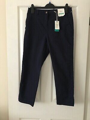 Brand New With Tag Joules Women's Hesford Crop French Navy Chinos Size 12 Summer