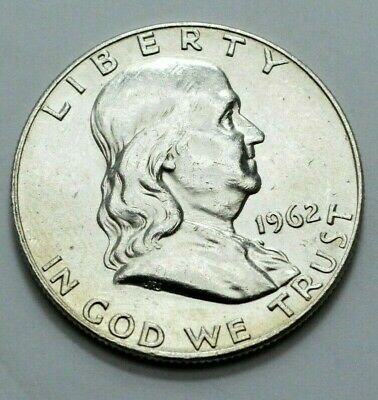1962-D Franklin Half Dollar  90% Silver Old US Coin , 50c  NO RESERVE .!
