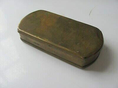 antique 1700s brass tobacco box/engraved