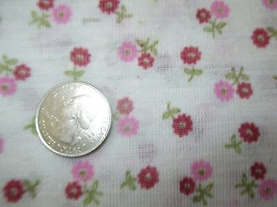 SUMMERY Vintage RED PINK FLOWERS On CREAM 1970's COTTON KNIT Fabric-over 2 yd