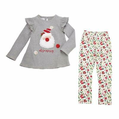 Mud Pie Girls Outfit Gray USA 6-9 Months Oh So Merry Christmas Leggings $38 388