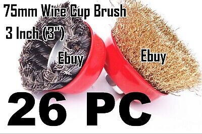"26 Wire Cup Brush 3"" (75mm) for 4-1/2"" (115mm) Angle Grinder Twist Knot Crimped"