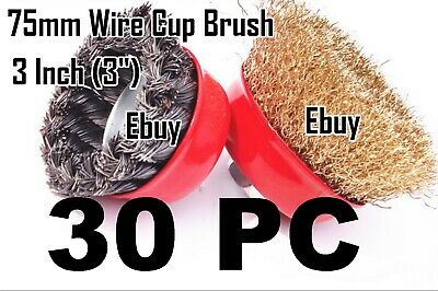 "30 Wire Cup Brush 3"" (75mm) for 4-1/2"" (115mm) Angle Grinder Twist Knot Crimped"