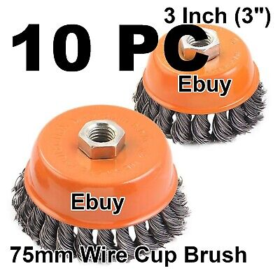 """10PC 3"""" x 5/8"""" 11 NC FINE Knot Wire Cup Brush Twist 4-1/2"""" Angle Grinders Wheel"""