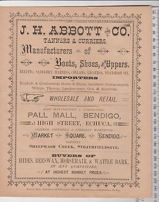 Abbott Bendigo Tanners & Curriers Catalogue pricelist brochure late 1800's