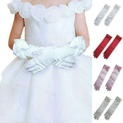 Kids Girls Long Gloves Bow Knot Satin Elbow Dance Princess Gloves Sleeves D H3A7