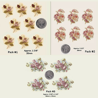 Ceramic decals SMALL PINK ROSES / BUDS  Flowers Floral 3 Options WATERSLIDE R21
