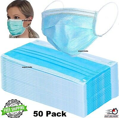 NEW DISPOSABLE SURGICAL 2 PLY FACE MASK 50 PCS FLU VIRUSES BACTERIA protect