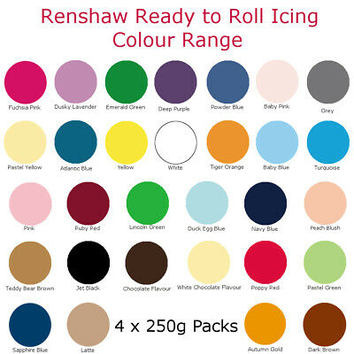 1Kg Renshaw Icing Fondant Colour Ready To Roll Sugarpaste For Cakes 4 x 250g