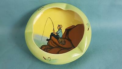 Splendid 1950s Sgd Martin Boyd Bowl Ashtray Hand-painted with Young Fisherman